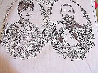 Antique Pale Blue Cotton Bandana Large Handkerchief King George V & Queen Mary