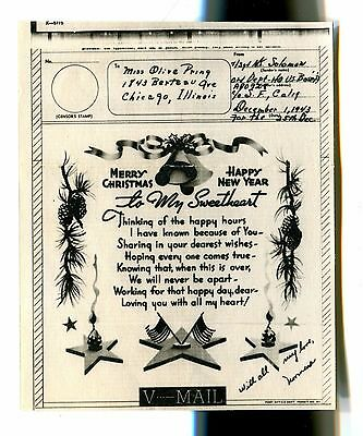 Vintage WW2 V-mail Christmas Card illustrated to my Sweetheart