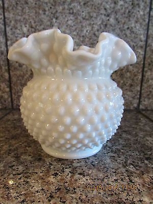 Heavyweight White Milk Glass Hobnail Ruffled Crimped Edge Vase Bowl