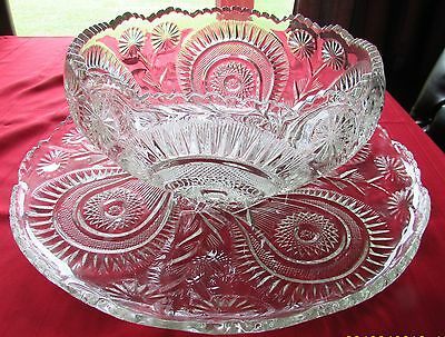 "L. E. Smith Very Large Glass Punchbowl & Underplate 22"" Wide Slewed Horseshoe"