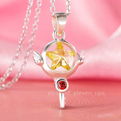 Silver Necklace Card Captor Sakura Kinomoto Star Wand Key Pendant Yellow Zircon