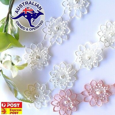 5 PCS Vintage Polyester flower lace trim with Pearl sewing  4.5cm