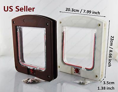 4 Way Lock Lockable Pets Safe Flap Door Fit for Dog Cat Small White Brown