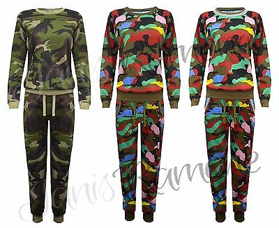 New Womens Camouflage Army Print Fleece Jogger 2 Piece Lounge Suit Gym Tracksuit