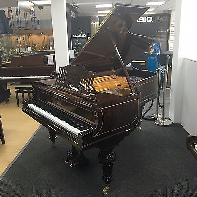 Restored Bluthner Style 7 grand piano in polished rosewood with walnut inlay