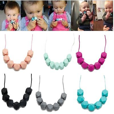 Baby Chain Silicone Teething Necklace Teether Cute Charm BPA-Free Beads Polygon
