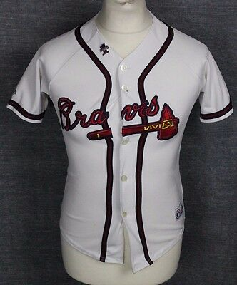 Jones #25 Atlanta Braves Baseball Jersey Shirt Majestic Youths Medium With Badge