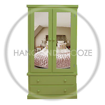 Handmade Dewsbury Junior 2 Drawer  Wardrobe Green Double Mirrored (Assembled)