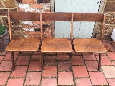 VINTAGE FOLDING THEATRE CINEMA SEATS BENCH CHAIRS Free Local Delivery