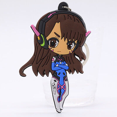 New Overwatch Game character Double Sides Rubber Keychain Kering #K8