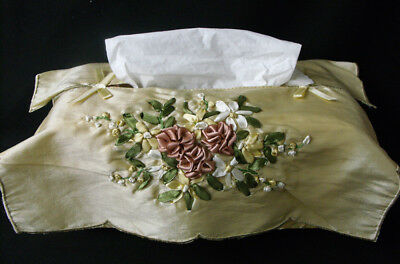 French Country Inspired Embroidered Satin Assorted Colours Tissue Box Cover F...