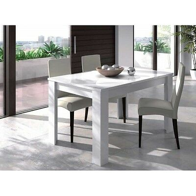 Mesa de comedor extensible blanco brillo