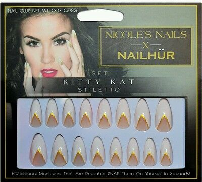 NAILHUR x NICOLE GUERRIERO Snap Stick On False Nails KITTY KAT Stiletto REUSABLE