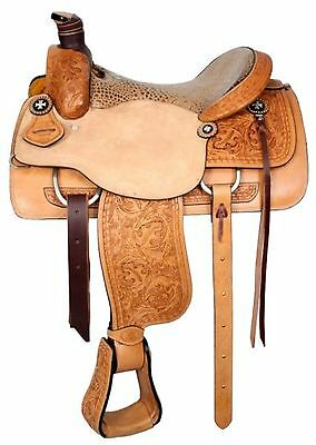"""17"""" Circle S Western Roping Saddle With Alligator Print Seat! Roping Warranty!"""