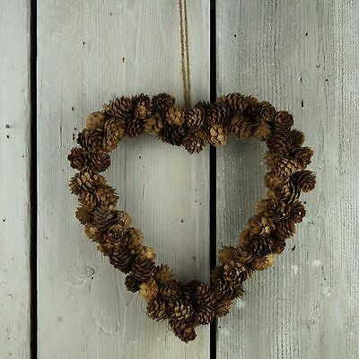 Natural Pine Cone Heart Christmas Wreath - 29cm - Shabby Chic Decoration