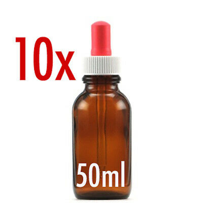 10 X 50ml AMBER GLASS BOTTLES WITH DROPPERS