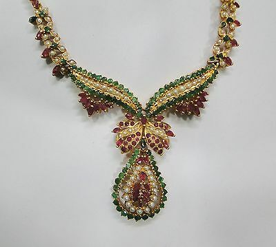 Vintage antique solid 20K Gold jewelry pearl ruby & emerald gemstones necklace