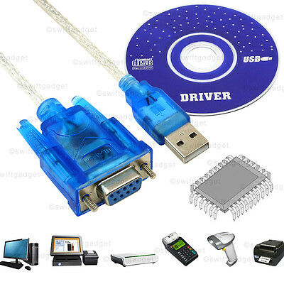 1m USB to RS232 Serial 9 Pin DB9 Female Converter Adapter Cable Win XP 7 8 10