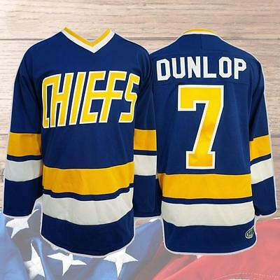 Reggie Dunlop #7 Charlestown Chiefs Hockey Jersey Movie Stitched Blue M-3XL