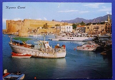Cyprus postcard: Kyrenia Castel,view from the harbour, posted before 1974+ stamp