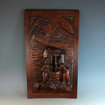Antique French Hand Carved Relief Wood Panel Romantic Scene