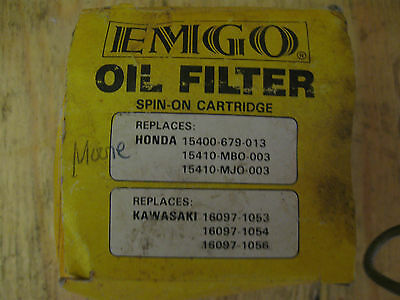Nip Oil Filter Emgo Spin On Cartridge Honda Kawasaki 10-82200 Chrome