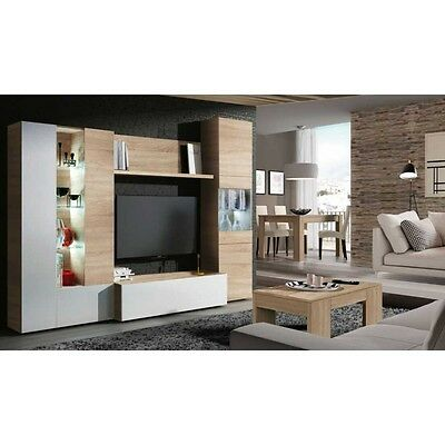 Mueble salon roble canadian y blanco brillo con led