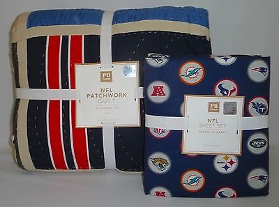 POTTERY BARN PB TEEN NFL Patchwork TWIN Quilt w/TWIN Sheet Set, AFC, NEW