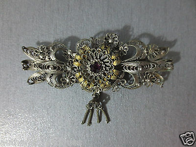 Gorgeous ANTIQUE VINTAGE OTTOMAN SILVER FILIGREE + GILDED Pin Brooch ORNAMENT