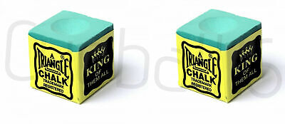 2 Pieces GREEN Genuine Triangle Snooker or Pool Cue Tip Chalk - by Tweeten USA