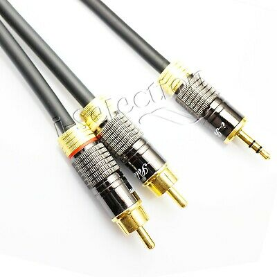 50cm Ultra Premium Stereo Audio 3.5mm Aux Jack to 2 RCA M/M Y Cable Gold Plated
