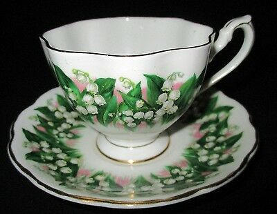 Queen Anne Bone China Tea Cup & Saucer Set Lily Of The Valley Green White Pink