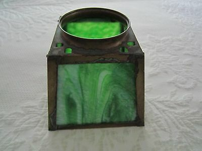 Vintage Arts & Crafts Mission GREEN SLAG GLASS LIGHT LAMP SHADE w/Brass Frame