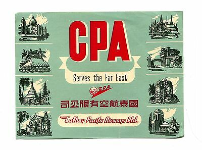 Vintage Airline Luggage Label CPA CATHAY PACIFIC AIRWAYS Far East  multi-view