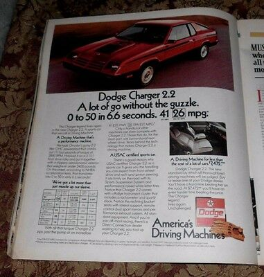 1982 Near Mint Print Ad Poster Red Dodge Charger 2.2 Driving Machine