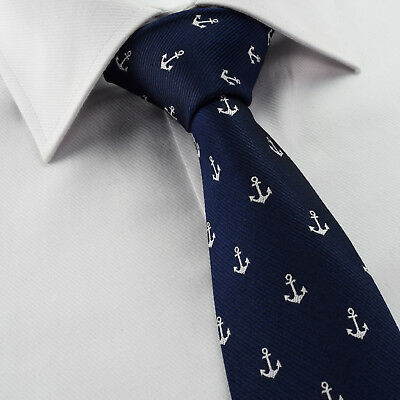 Mens Boat Anchor Tie - Cotton - Blue & White - - Gift T301