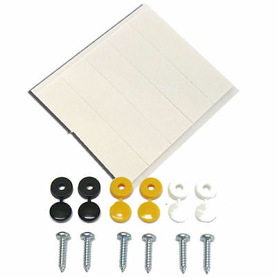 Car Number Plate Fixing Fitting Kit Screws, Caps Yellow White Black & Pads 1W