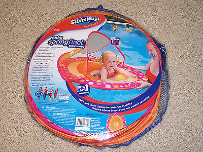 SwimWays Baby Spring Float with 50+ UPF UV Sun Canopy 9-24 Mo Pool Water