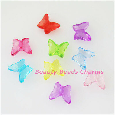 100 New Charms Plastic Acrylic Tiny Butterfly Spacer Beads Mixed 8x10mm