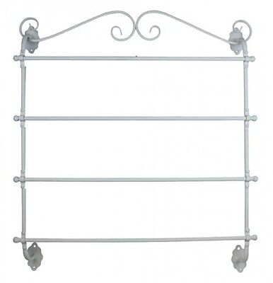 French Country Vintage Inspired Wrought Iron WHITE TOWEL RACK Wall Mounted Ba...