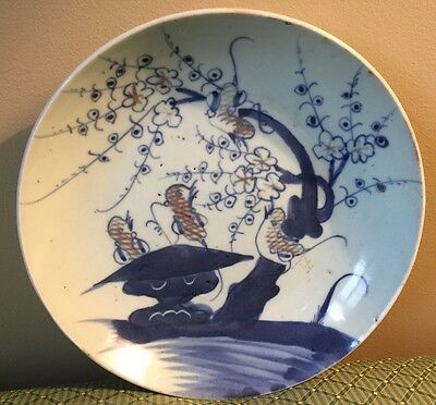 Antique Old Chinese Signed Blue and White Porcelain Plate Birds