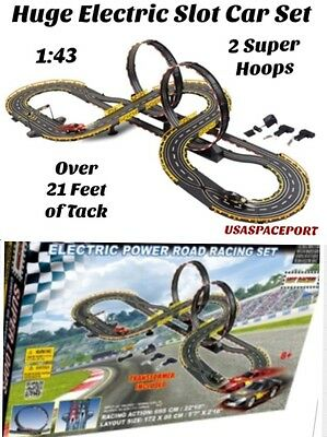 Kids SUPER Electric Power ROAD RACING SET 2-Slot Cars 22'+ Race Track Loops 1:43