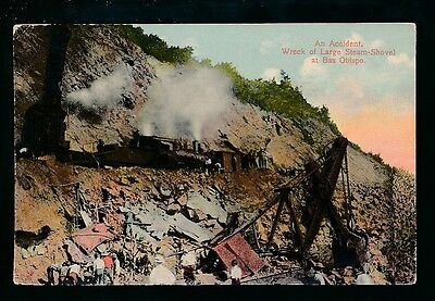 Panama canal construction BAS OBISPO Accident & Wreck of Steam Shovel c1912? PPC