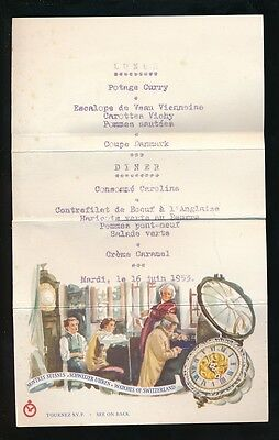 Horology Swiss Watchmakers illus lunch menu for 1953 folded