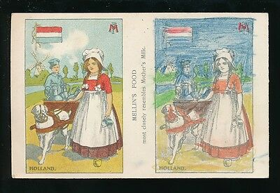 Netherlands Mellins Food drawing novelty PPC c1920/40s? right panel coulered in