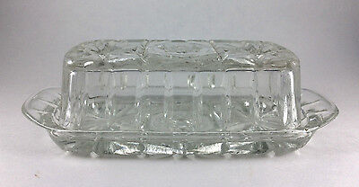 """Vintage Pressed Glass Fancy Butter Dish with Lid """"Star of David"""""""
