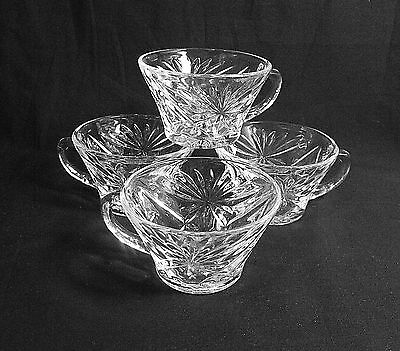 Vintage Lot 4  Anchor Hocking  Starburst Style Punch  Cups Clear Glass