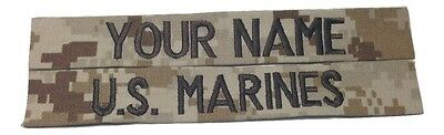 2 piece Desert Marpat Custom Name & US Marines USMC Tape set, Sew-On