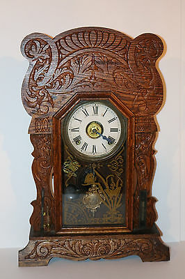 Antique Sessions gingerbread clock SUPERB COND. w/ thermometer/barometer/alarm