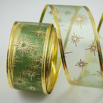 LUXURY Wired Ribbon GREEN Organza glitter twinkle snowflake 40mm Christmas